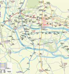 Guangzhou MTR map with road names and some points